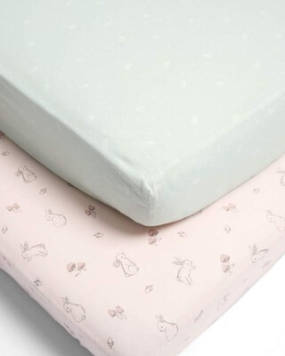 Lilybelle 2 Cot/Bed Fitted Sheets - Pink/Aqua