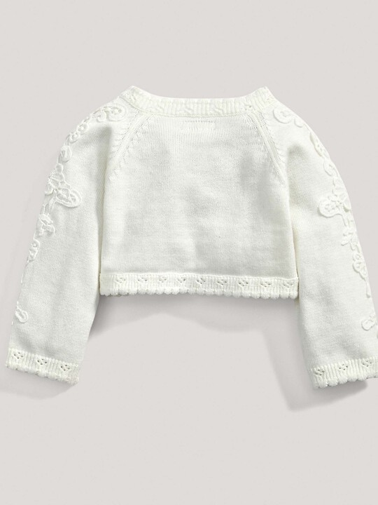 Lace Applique Detail Knit Cropped Cardigan Cream- New Born image number 4