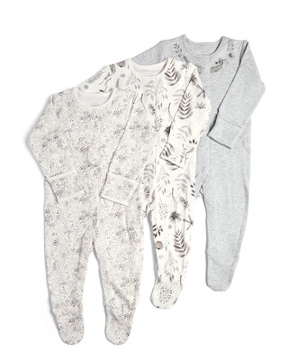 3 Pack of  Monochrome Flower Sleepsuits