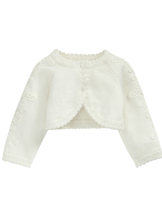 Lace Applique Detail Knit Cropped Cardigan Cream- New Born image number 6