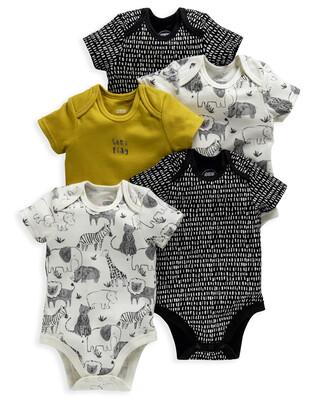 Monochrome Safari Bodysuits 5 Pack