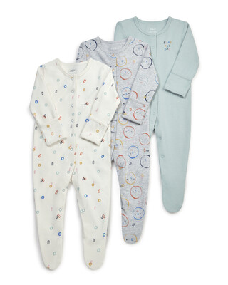 3 Pack Faces Sleepsuits
