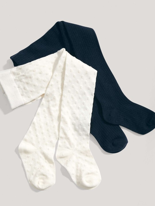 2 pack Textured Tights Cream/Navy- 2-3 yrs image number 1
