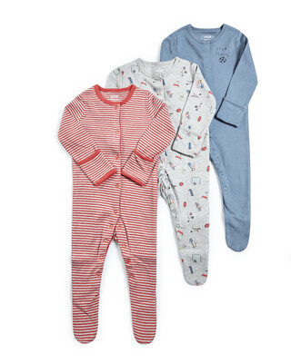 Sports Jersey Sleepsuits - 3 Pack