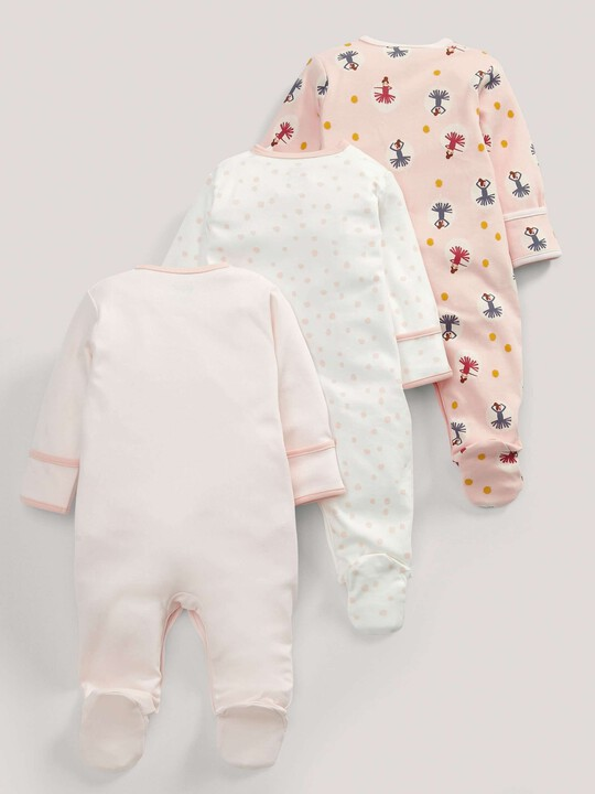 3 pack Ballerina Print All-In-Ones- 0-3 months image number 2