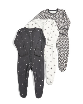 Pack of 3 Monochrome Sleepsuits
