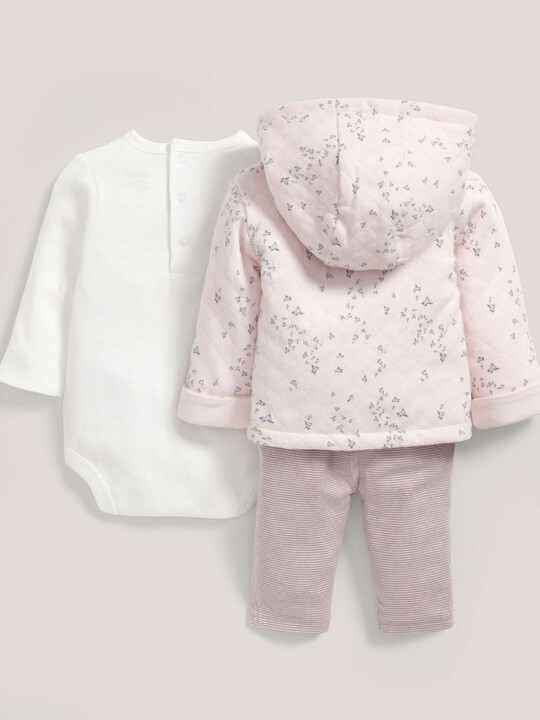 Quilted Jacket with Bodysuit & Legging Set Pink- 9-12 months image number 2
