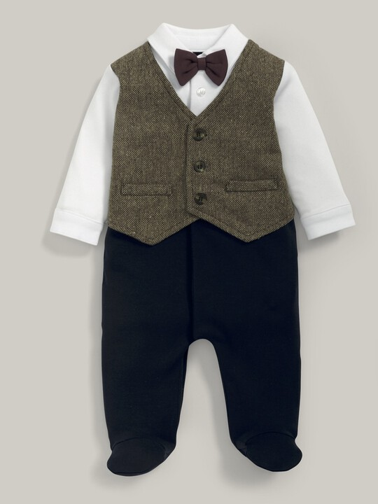 Waistcoat Mock Outfit All-In-One Navy/Grey- 0-3 image number 2