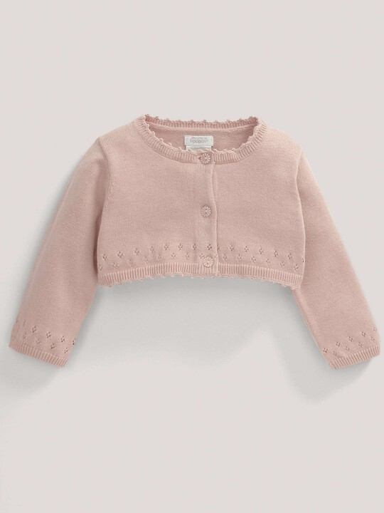 Pointelle Detail Knit Cropped Cardigan Pink- 12-18 months image number 2