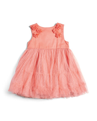 Dress with Floral Trim