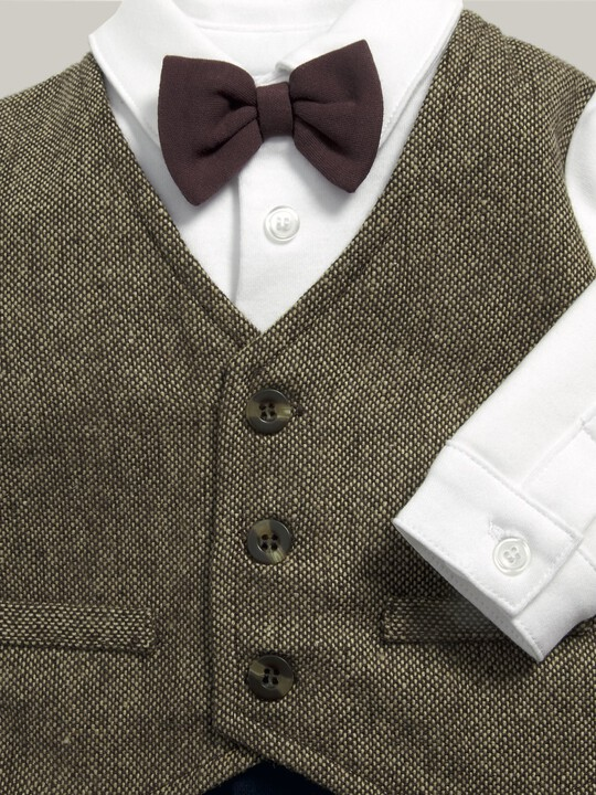Waistcoat Mock Outfit All-In-One Navy/Grey- 0-3 image number 4