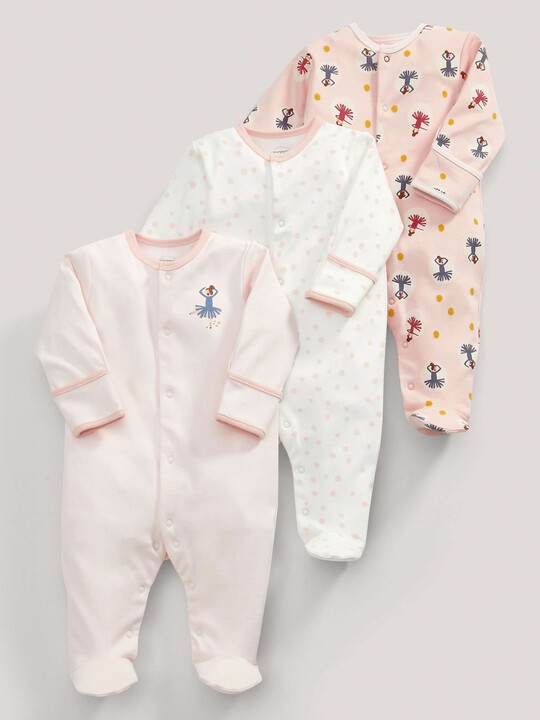 3 pack Ballerina Print All-In-Ones- 0-3 months image number 1