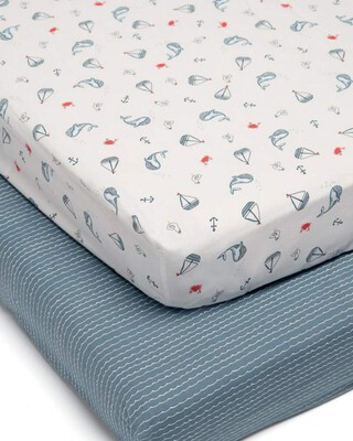 Sail Away With Me Cot & Cotbed Fitted Sheets - 2 Pack