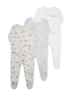 3 Pack Animal Jersey Sleepsuits