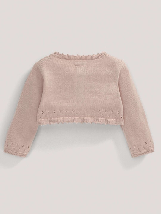 Pointelle Detail Knit Cropped Cardigan Pink- 12-18 months image number 3