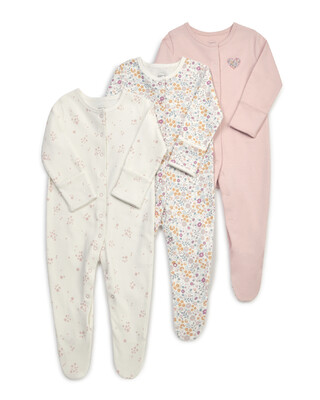 Floral Jersey Cotton Sleepsuits 3 Pack