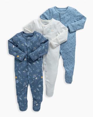 3 Pack Space Sleepsuits