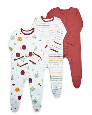 Striped Jersey Sleepsuits - 3 Pack