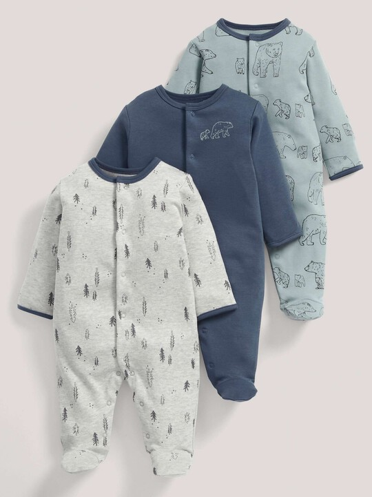 3 pack Bear Print All-In-Ones- 0-3 image number 1