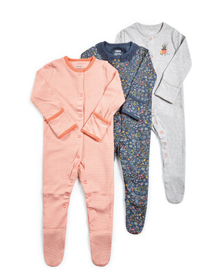 Floral Fruit Jersey Sleepsuits - 3 Pack