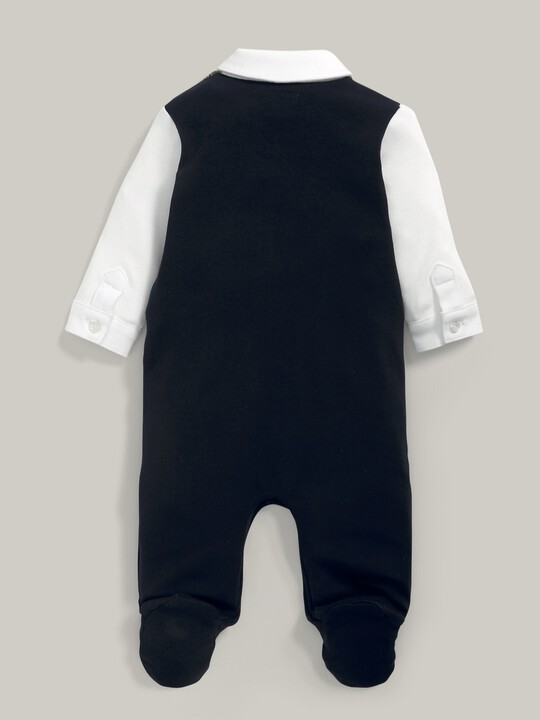 Waistcoat Mock Outfit All-In-One Navy/Grey- 0-3 image number 5