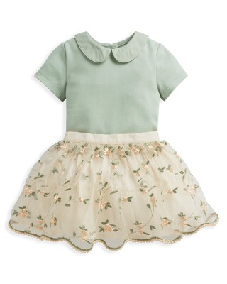 2 Piece Floral Embroidered Skirt & Blouse Set