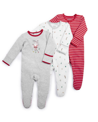 Christmas Santa Sleepsuits - 3 Pack