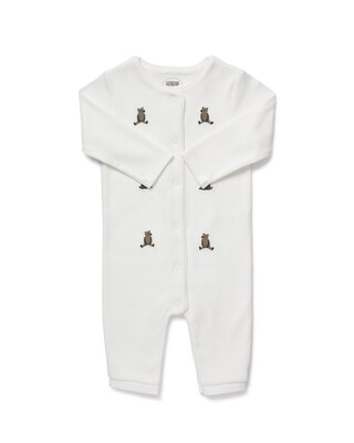 Embroidered Bear Romper