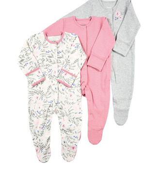 Pack of 3 Floral Sleepsuits