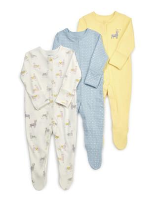 Llama Jersey Cotton Sleepsuits 3 Pack